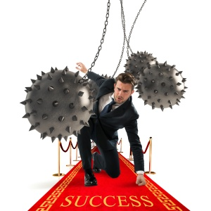 Businessman overcomes obstacles and reach the success